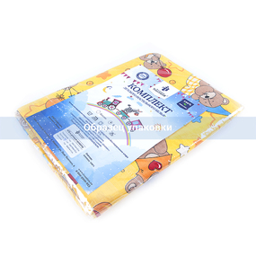 Постельное белье в детскую кроватку 10925/1 Акварельки поплин с простыней на резинке фото