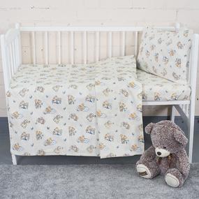Постельное белье в детскую кроватку из поплина 1841/1 с простыней на резинке фото
