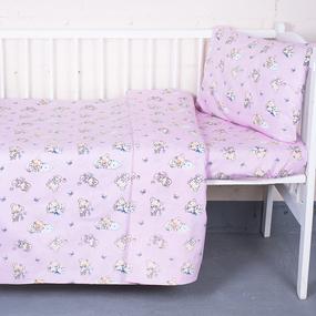 Постельное белье в детскую кроватку из поплина 1841/2 с простыней на резинке фото