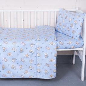 Постельное белье в детскую кроватку из поплина 1841/3 с простыней на резинке фото