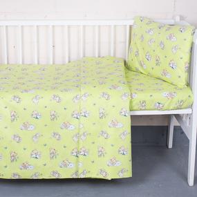 Постельное белье в детскую кроватку 1841/4 поплин с простыней на резинке фото