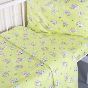 Постельное белье в детскую кроватку из поплина 1841/4 с простыней на резинке фото