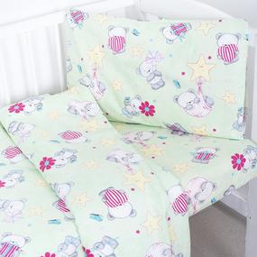 Постельное белье в детскую кроватку 1835/5 поплин с простыней на резинке фото