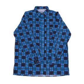 Рубашка мужская фланель клетка 44-46 цвет синий модель 2 фото