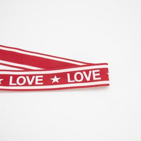 Лампасы №167 красный белый LOVE звезда 3,8см 1 метр фото