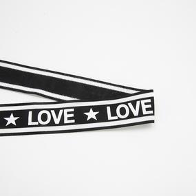 Лампасы №167 черный белый LOVE звезда 3,8см 1 метр фото