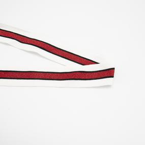 Лампасы №170 черные белые красный люрекс 3см 1 метр фото