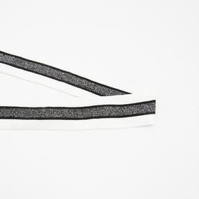 Лампасы №170 черные белые черный люрекс 3см 1 метр фото