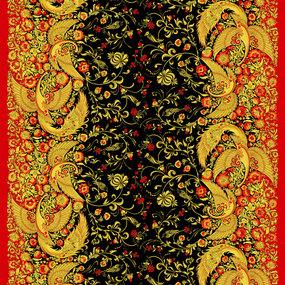 Ткань на отрез рогожка 150 см 30043/1 Хохлома фото