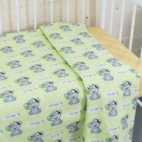 Пододеяльник поплин 112 гр/м2 детский 1904/2 Мишка в кепке цвет салатовый 145/110 см фото