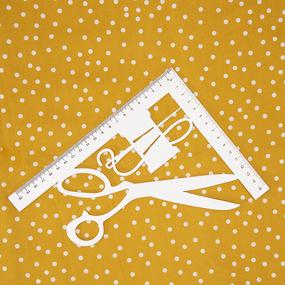 Ткань на отрез штапель 150 см 2445 Горох цвет желтый фото