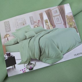 Ткань на отрез сатин гладкокрашеный 250 см 15-6316 цвет зелень фото