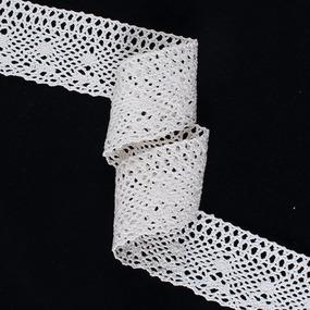 Кружево лен А25-К 6см кремовый 1метр фото