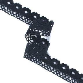 Кружево лен S1009 Чёрный 2.7см 1метр фото
