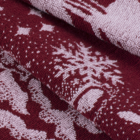 Полотеце махровое Зимняя сказка ПТХ-3602-02837 50/80 см цвет бордо фото