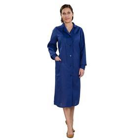 Халат женский рабочий рукав длинный бязь синяя 52-54 фото