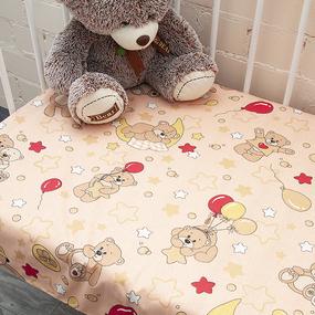 Простынь детская бязь ГОСТ 350/4 Мишки цвет бежевый 110/150 см фото