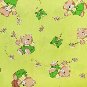 Ткань на отрез бязь 120 гр/м2 детская 150 см 1332/2 За медом цвет салатовый фото