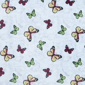 Ткань на отрез полулен 150 см 175448 Бабочки красно-желтые 5333/1 фото