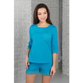 Комплект футболка+шорты 0342-06 цвет Бирюза р 44 фото