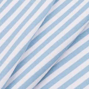 Ткань на отрез интерлок Полоса вертикаль R334 цвет голубой фото