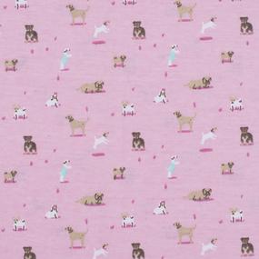 Ткань на отрез кулирка Собачки на розовом R314 фото