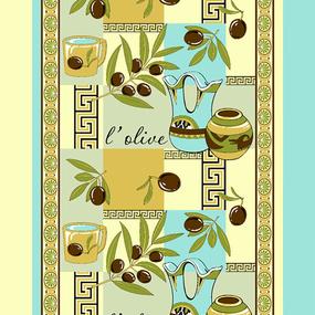 Ткань на отрез вафельное полотно 50 см 170 гр/м2 93371 Оливки желтые фото