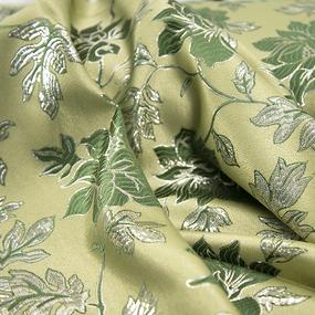 Портьерная ткань с люрексом 150 см на отрез H627 цвет 4 зелёный цветы фото