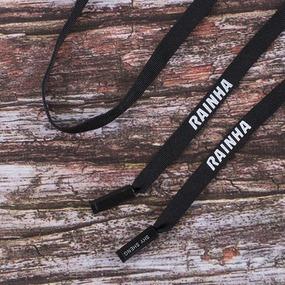 Шнур плоский 130см черный с декор наконечником RAINHA уп 2 шт фото