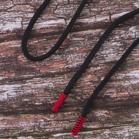 Шнур с декоративным метал наконечником красный 130см черный уп 2 шт фото