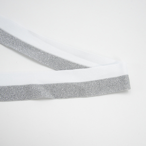 Лампасы №181 белый серебро люрекс 5см 1 метр фото