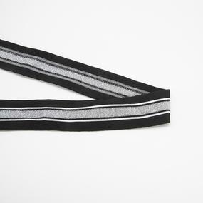 Лампасы №182 черный полоска люрекс серебро белые строчки 4см 1 метр фото