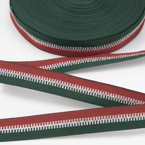 Тесьма зеленый красный белый зигзаг 2см 1 метр фото