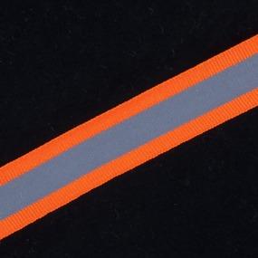 Тесьма со светоотражающей лентой 2см оранжевый 1 м фото