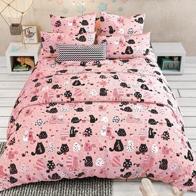 Бязь 120 гр/м2 детская 150 см 7206/7 Коты цвет розовый о/м фото