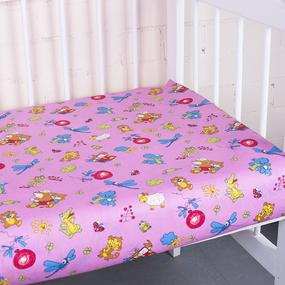 Простыня на резинке бязь детская 383/3 Зоопарк цвет розовый 60/120/12 см фото