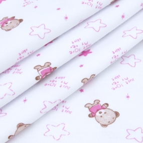 Ткань на отрез интерлок Мишки R020 цвет розовый фото