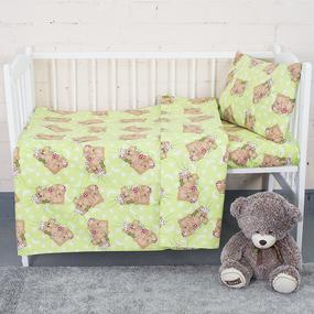 Постельное белье в детскую кроватку из бязи 1286/1 Соня зеленый фото