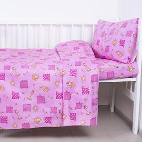 Постельное белье в детскую кроватку 366/3 Жирафики розовый фото