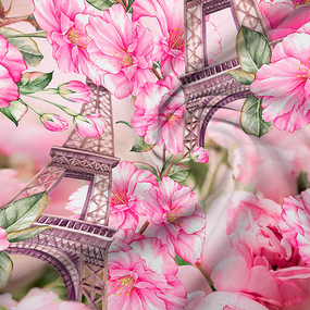 Ткань на отрез перкаль 220 см 15441/1 Парижский роман фото