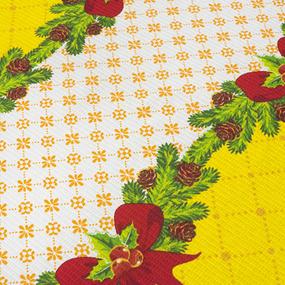 Вафельное полотно набивное 150 см 454/3 Новогодний цвет жёлтый фото