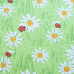 Ткань на отрез ситец 80 см 6679/2 Ромашки цвет салатовый фото