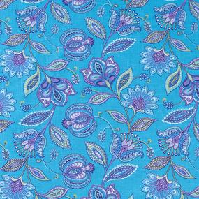 Ткань на отрез ситец 80 см 20113/1 Цветочная фантазия цвет голубой фото