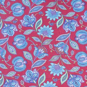 Ткань на отрез ситец 80 см 20113/2 Цветочная фантазия цвет красный фото