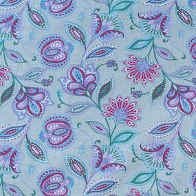 Ткань на отрез ситец 80 см 20113/3 Цветочная фантазия цвет зеленый фото