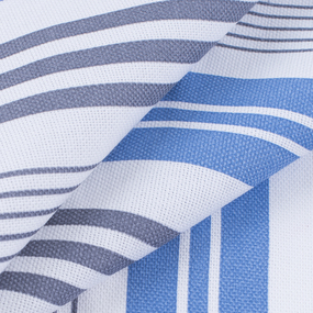 Ткань на отрез рогожка 150 см 97253 Полоса цвет синий фото