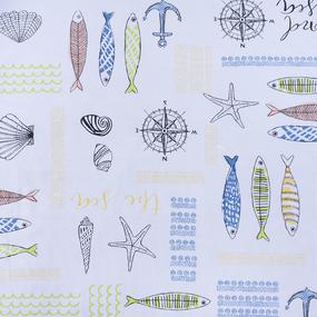 Ткань на отрез рогожка 150 см 97451 Рыбки фото