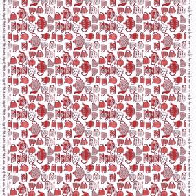 Ткань на отрез рогожка 150 см 97462 Чаепитие цвет красный фото