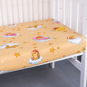 Простыня на резинке бязь детская 4098/1 Облачко цвет желтый 60/120/12 см фото