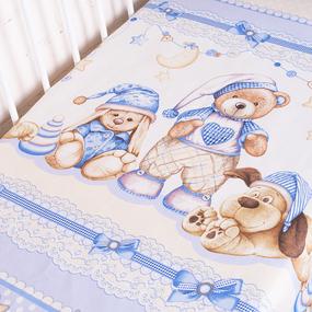 Простыня на резинке бязь детская 198711 Нежный сон осн. 1 гол. 90/200/20 см фото
